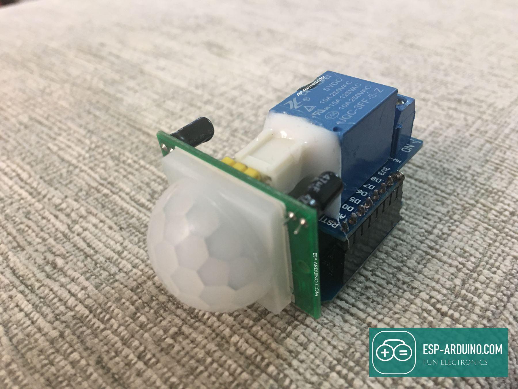 ESP Arduino project Motion sensor wemos relay