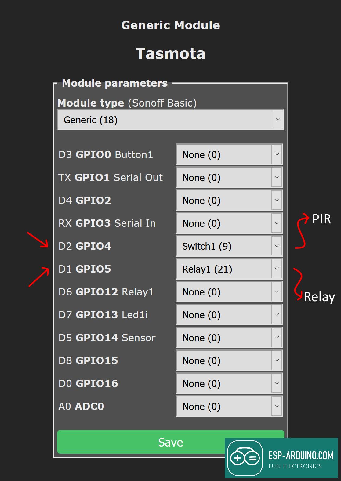 esp-arduino motion sensor configure tasmota relay